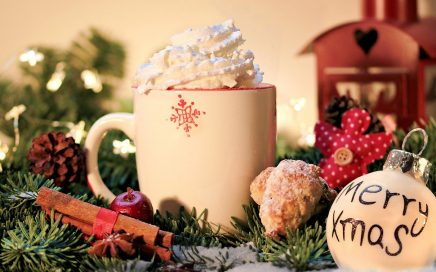 Christmas decorations and mug of hot chocolate